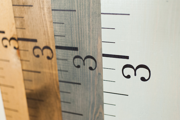 wooden growth chart rulers several stain choices for coordinated portable decor